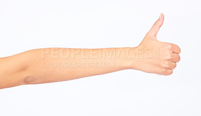 Buy stock photo Cropped image a hand giving a thumbs up