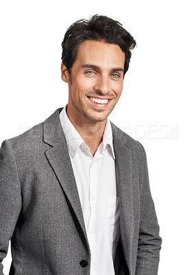 Buy stock photo A handsome young businessman smiling happily