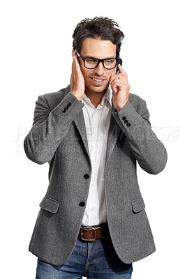 Buy stock photo A handsome young man talking on his cellphone