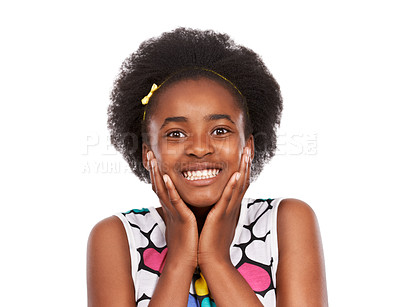 Buy stock photo Studio portrait of a young african american girl with her hands on her cheeks grinning broadly isolated on white