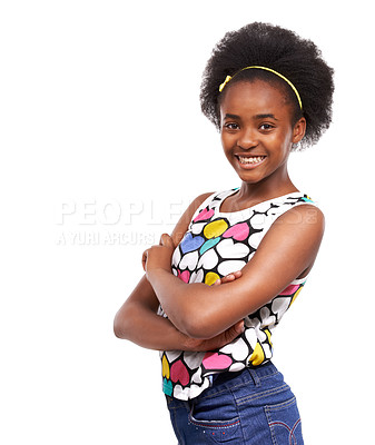 Buy stock photo Studio portrait of a confident-looking young african american girl isolated on white