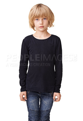 Buy stock photo Portrait of a pretty little girl standing against a white background