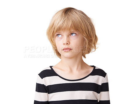 Buy stock photo A pretty little girl standing and gazing up against a white background