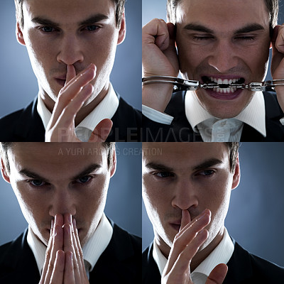 Buy stock photo Collage young male white collar criminal on grey background