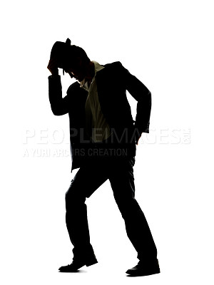 Buy stock photo A young guy showing you his dance moves against a white background