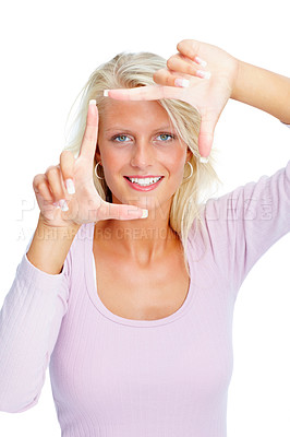 Buy stock photo Portrait of a beautiful young woman creating a frame with her fingers