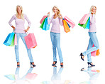 Beautiful young female holding shopping bags over white , multi image