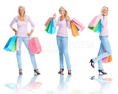 Buy stock photo Digital composite - Pretty young female holding shopping bags over white