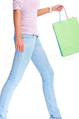 Buy stock photo Mid section of a female holding many shopping bags isolated on white
