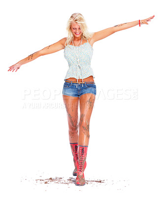 Buy stock photo Full length portrait of a sexy young female covered in muck walking , white background