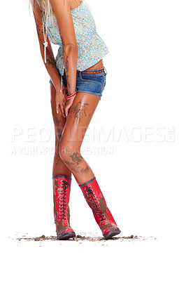 Buy stock photo Low section of a sexy young female covered in muck isolated on white