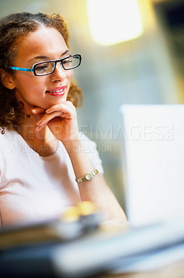 Buy stock photo Lovely young African American business woman during work