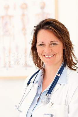 Buy stock photo Portrait of a successful middle aged female doctor smiling