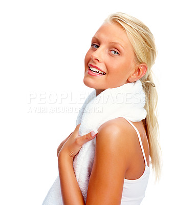 Buy stock photo Attractive young female with a towel around her neck smiling over white background