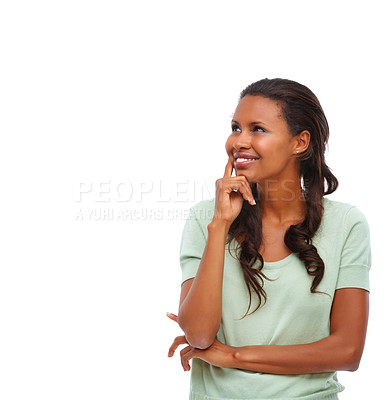 Buy stock photo Lost in thought - African American looking at copyspace over white background