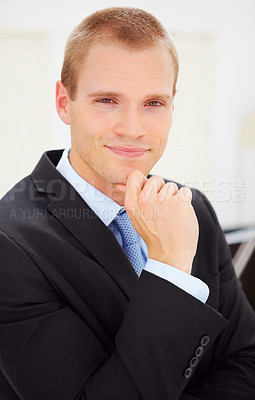 Buy stock photo Portrait of a handsome young business man in black suit