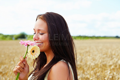 Buy stock photo A beautiful young female holding flowers, countryside
