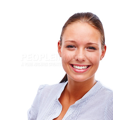 Buy stock photo Closeup portrait of a cute young female smiling isolated on white
