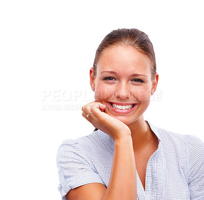 Buy stock photo Portrait of a lovely young female with her hand on her chin, isolated on white
