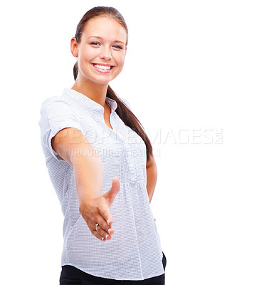Buy stock photo Portrait of a cute young female offering a handshake, smiling against white