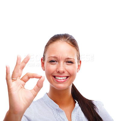 Buy stock photo Portrait of a cute female showing an OK sign isolated over white