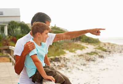Buy stock photo Father and son on a beach vacation together, father pointing towards the sea