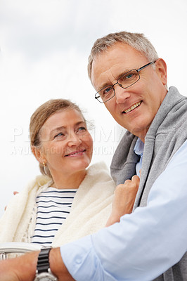 Buy stock photo Happy senior couple enjoying themselves together on a vacation
