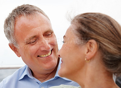 Buy stock photo Closeup of a mature couple enjoying themselves on the vacation