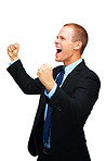 Happy young business man with clenched fist screaming on white background