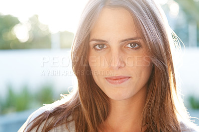 Buy stock photo Portrait of a pretty happy young woman