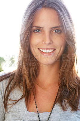 Buy stock photo Portrait of an attractive happy young lady