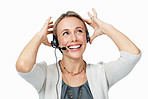 Cheerful female customer support executive