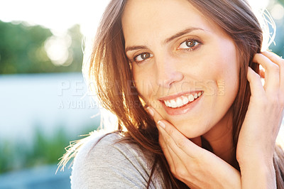 Buy stock photo Portrait of lovely young woman smiling