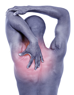 Buy stock photo Cropped rear view shot of a man holding onto his painful neck and shoulder muscles