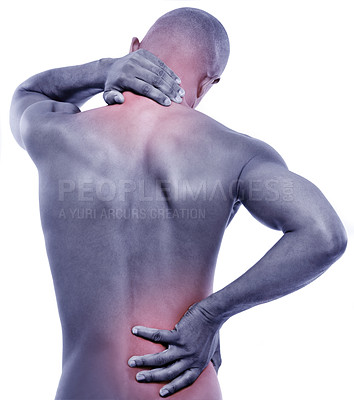 Buy stock photo Cropped rear-view shot of a man experiencing muscular pain isolated on white
