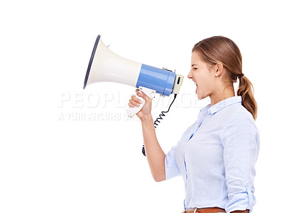 Buy stock photo Profile of an attractive young woman shouting through a megaphone