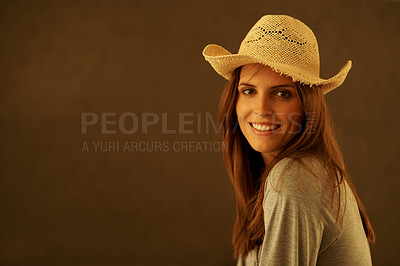 Buy stock photo Smart young woman wearning a straw hat against bro