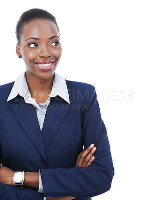 Buy stock photo A beautiful young african american businesswoman isolated on white