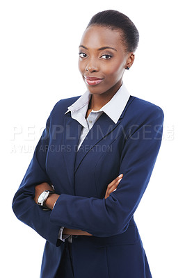 Buy stock photo Portrait of a young businesswoman looking at the camera