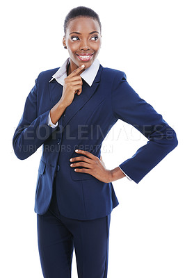 Buy stock photo Studio shot of a thoughtful-looking young businesswoman looking out of frame isolated on white