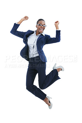 Buy stock photo Full length studio shot of an excited young businesswoman jumping in the air isolated on white