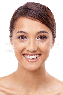 Buy stock photo Attractive young female smiling widely isolated on white