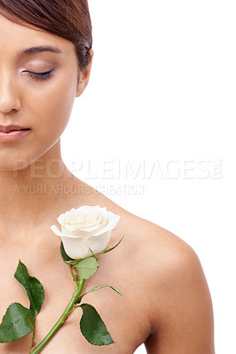 Buy stock photo Cropped shot of a beautiful young ethnic woman with her eyes closed