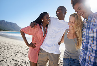 Buy stock photo Cropped view of two young couples spending time together