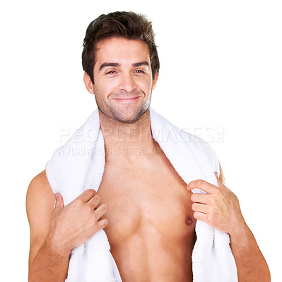 Buy stock photo Studio shot of a handsome bare-chested man with a towel isolated on white