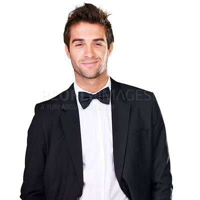 Buy stock photo Studio portrait of a handsome young man wearing a tuxedo