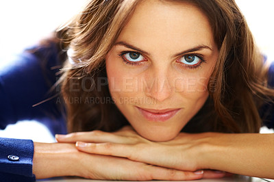 Buy stock photo Closeup of pretty young woman lying down on floor