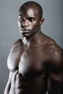 Buy stock photo Studio shot of a bare-chested african american man