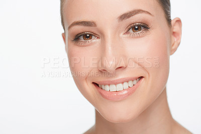 Buy stock photo Portrait of a beautiful smiling woman isolated on white
