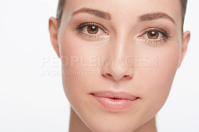 Buy stock photo Closeup of a beautiful young woman with flawless skin